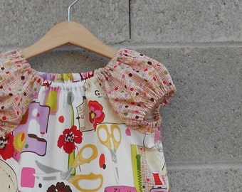 LAST ONE 4T Sewing Class Peasant Dress Ready to Ship, Pink Lavender Brown Red Yellow Lime, Ready to Ship