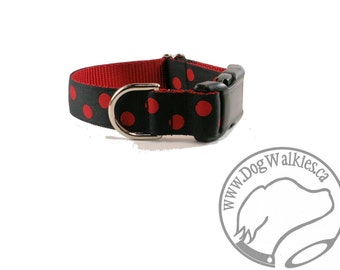 "Reverse Lady Bug Dog Collar - 1"" (25mm) Wide - Martingale or Quick Release Buckle - Your Choice of size and style // Black // Red // Dotted"