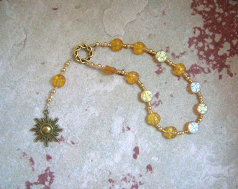 Helios Pocket Prayer Beads in Yellow Pressed Glass: Greek God of the Sun, All-Seeing Observer, Witness of Oaths