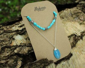 Turquoise Boho Necklace Teardrop Pendant