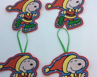 Ice Skating Snoopy Ornaments -Set of 4