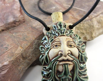 Peruvian Ceramic Green Man Bottle