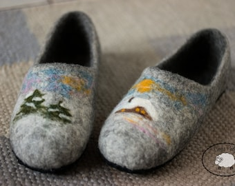 60th birthday gift for women felted slippers clogs felt slippers wool slippers felted clogs wool clogs, bedroom slippers wet felted shoes