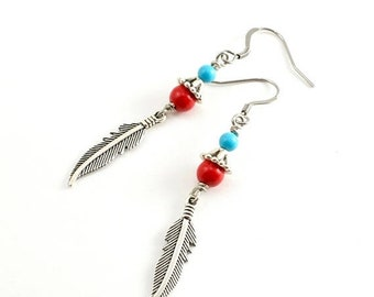 20%OFF SALE Silver Feather and Beaded Earrings, Red Stone Turquoise and Silver Feather Earrings, Native American Style Earrings, Boho Chic E