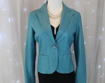 Vintage 90's Turquoise Soft Leather Jacket,Cowboy Jacket,Blue Suede Jacket, Riding Jacket,Western Riding,Western Show Coat,Blue Blazer