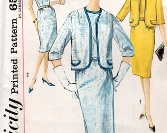FREE US SHIP Original Uncut Simplicity 4774 Retro 1960's 60s Jackie Dress Jacket Bust 33 Or 37 Half Size 12.5 16.5 Sewing Pattern