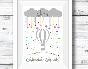 Aventure Awaits Print, Hot Air Balloon Print, Personlised Print, Rainbow, Rainbow, Nursery Decor, Quote Print, A4 Print Childrens' Room