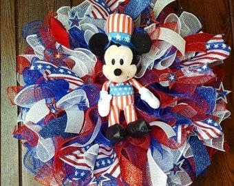 Fourth of July Wreath, Disney Wreath, Mickey and Minnie Wreath, Mickey Wreath, Minnie Wreath, Disney Wreath, Fourth of July Wreath, 4th