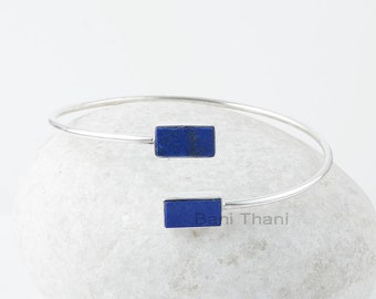 Lapis Lazuli Bangle Bracelets, Lapis Lazuli 6x12mm Rectangle Sterling Silver Gemstone Bangle, 925 Silver Bangle, Engagement Gift For Her
