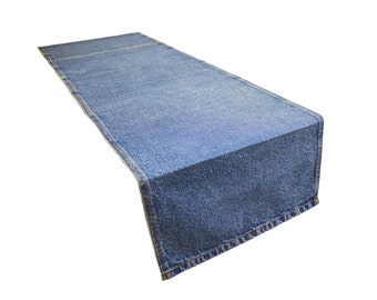 AAYU Blue Table Runner of Denim | Stone Washed Premium Quality | 13 inch X 108 inches |  13 inches X 72 inches | Denim Table Runner Pattern