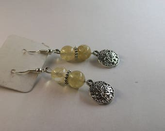 Golden Rhutilated Quartz with sand dollar charm earrings