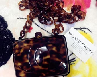 chanel vintage rare tortoise mini chainbag cossbodybag clutch