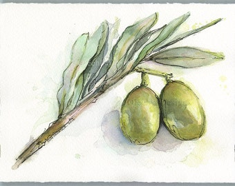 Green Olives Branch Watercolor Painting, Original Watercolor, Food Painting, Kitchen Decor, Olives Illustration Art by Olga Shvartsur