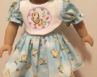Little duckling, Easter dress for 18 inch dolls