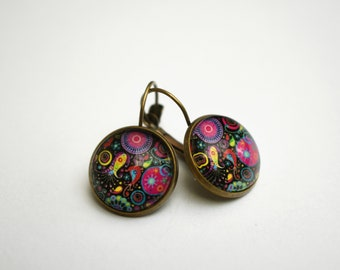 Arabesque colorful  lever back cabochon earrings, vintage copper dangle earrings, glass dome earrings, stud earrings with cabochon