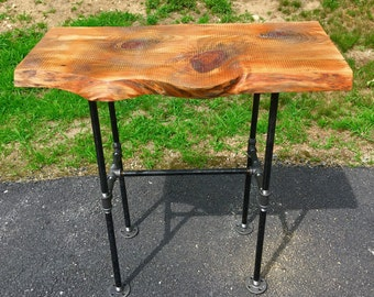 Wood and Black Iron Pipe Sofa/End Table - Rustic Industrial Live Edge - Multiple Sizes