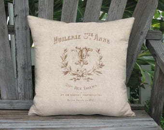 16x16 Inch - READY TO SHIP - Linen Cotton Beige Grain Sack Style Foubert Pillow with Insert - Linen Cotton French Farmhouse Cushion