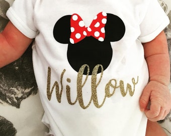 Disney baby etsy personalised baby grows minnie mickey mouse baby grow disney baby grow new negle Choice Image