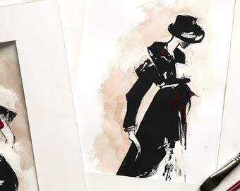 Modern Fashion Illustration Painting, Watercolor and Gouche Painting, Fashion Style Painting, Woman Fashion Sketching Art Painting