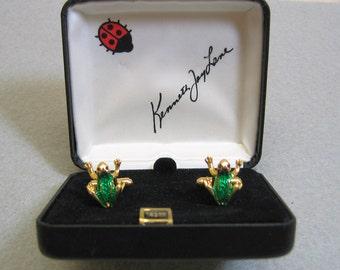Kenneth J Lane Frog Cufflink Set, Mint in Box, Vintage