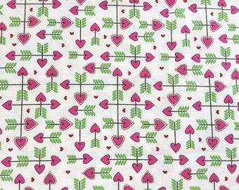 Happy Hearts Pink Color ~ Adornit Fabrics, Cotton Quilt Fabrics