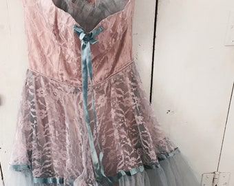 RESERVED LAYAWAY B Stunning perfect 1950s tulle prom dress lace shabby French Nordic chic ribbons pink lavender blue costume theater Rachel