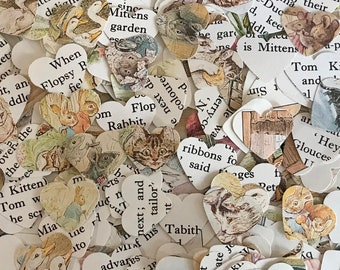 Beatrix Potter Heart Shaped Party Table Confetti / Decoration - Baby Shower / Christening / Birthday Party