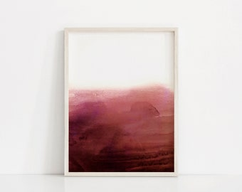 Dark Red Art Print. Bright Red Print. Red Watercolor Print. Red and White Art Print. Minimal Prints. Abstract Red Wall Art. Magenta Print