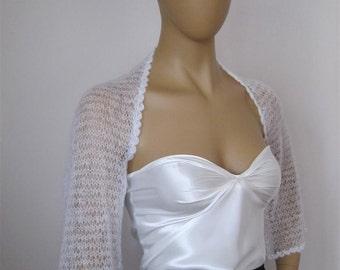 Wedding Bolero, Bridal Sweater, Shrug, Off White Bridal Shrug with Pearl Beads, Sheer Shrug