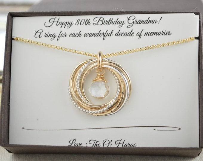 80th Birthday necklace for mom and grandma, April birthstone necklace, 8 Mixed metal rings, 8th Anniversary gift women, Rock crystal neck