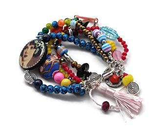 Multi-row bracelet // Bollywood bracelet // five-row bracelet // Bohemian bracelet // hypercolored.