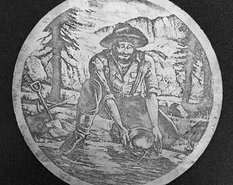 Etching of the Happy Gold Miner in 925 Sterling Silver a Precious Metal Art 8 Inches in Diameter 4 .6 ounces sterling