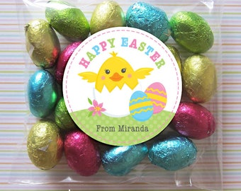 Personalized Easter Gift Tags or Stickers - DIY Printable - 2, 2.5 or 3 Inch Circle - Hatching Chick (Digital File)