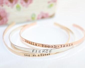 Stacking Bracelet - Sterling Silver Bracelet - Rose Gold Bracelet - Gold Bracelet - Chrismas Gift for Mom - Skinny Cuff Bracelet - Stackable