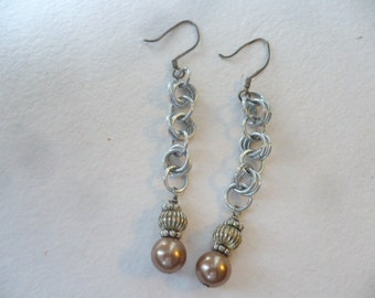 Flirty Chainmaille and Mocha Glass Pearl Dangle Earrings- FREE SHIPPING