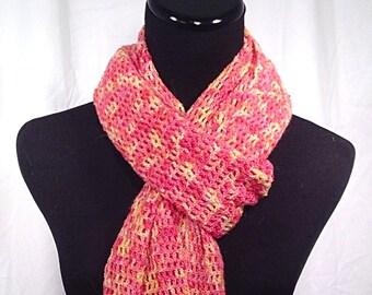 Yellow and Coral Hand-Dyed Merino Wool Crochet Mesh Shawl