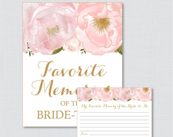 Favorite Memories of the Bride To Be Activity - Printable Pink and Gold Floral Bridal Shower - Blush Pink Garden Shower Activity - 0007