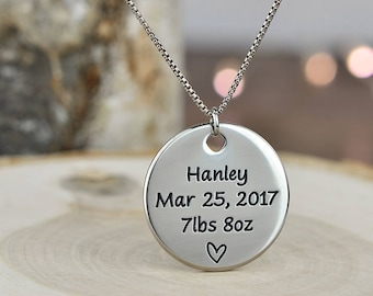 Gift for Her, New Mom Necklace, New Mom Jewelry, New Mother Gift, Expectant Mother - Deep Engraved with ANY TEXT up to 40 Char!