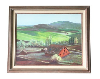 "Large, Sofa-Size Framed Original Oil Painting - Landscape ""Red Barn with Rolling Hills"""