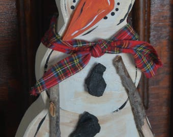 Original wood snowman named Stetson from the Frosty Collection