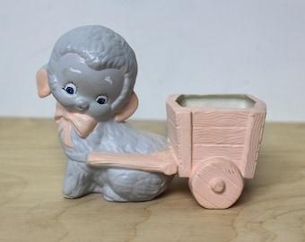 Vintage Ceramic Lamb Pulling Cart Planter