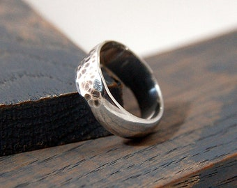 Mens Hammered Antique Wedding Ring, Mens Hammered Antique Wedding Band, Sterling Silver Hammered Antique Wedding Ring