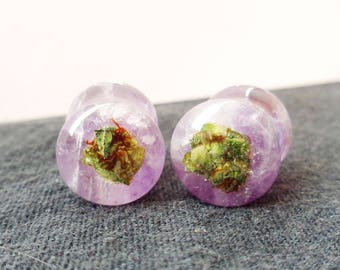 Amethyst Cannabis Filled Plugs-Amethyst Plugs-Amethyst Tunnels-Unique Plugs-Gifts for Stoners-Weed Plugs- Weed Jewelry
