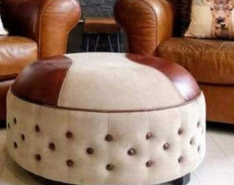 Genuine leather and Canvas footstool / Ottoman / Round Pouffe. 76cm x 76cm x 40cm