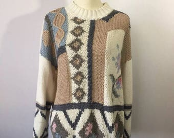 Vintage Oversized Sweater, Hipster , Granny, Jumpser, Knit Sweater, Large Comfy Sweater, Vintage Pullover