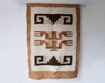Peruvian Handwoven Wool Wall Hanging or Rug // Hand Spun, Handmade