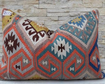 Anatolian pillow, Kilim pillow cover, Boho pillow,Home living, Wintage pillow, Home design, Decorative pillow, Turkish pillow, Kilim cushion