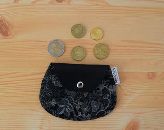 Leather coin purse,leather change purse,floral coin purse,change purse leather,black coin purse,womens coin purse,minimal purse,flower print