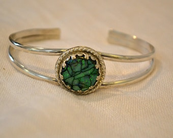 Sterling Opal cuff bracelet with fancy bezel.  sized to fit at purchase