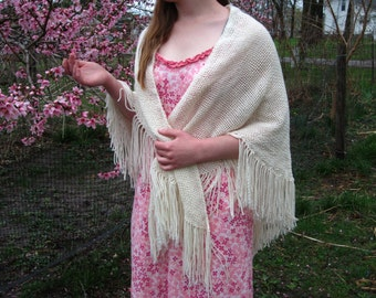 Hand Woven Lacy Shawl ~ Triangle Shawl ~ Made In a Lovely Lacy pattern in Off White Yarn~ With Fringe